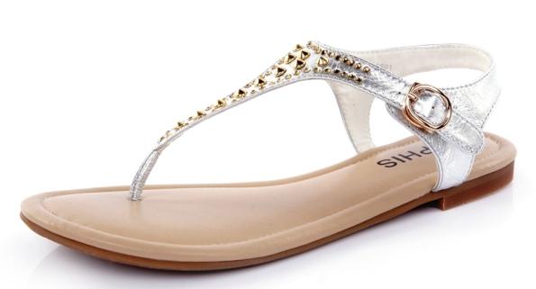 2013-genuine-leather-sheepskin-rhinestone-rivet-lambdoid-flip-rubber-sole-flat-spike-gladiator-flat-sandals