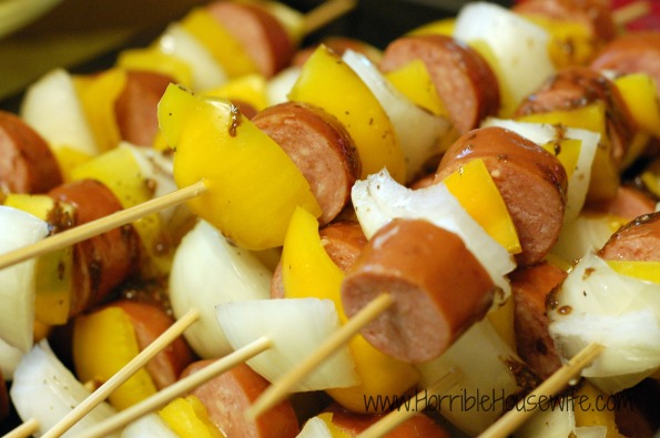 Sausage-onion-and-yellow-pepper-skewers
