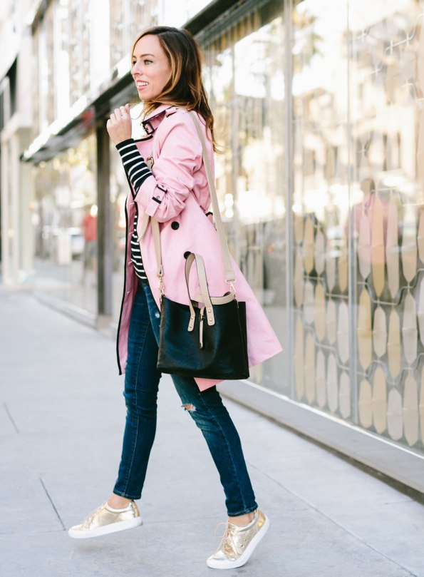 Sydne-Style-wears-pink-trench-coat-for-la-blogger-style
